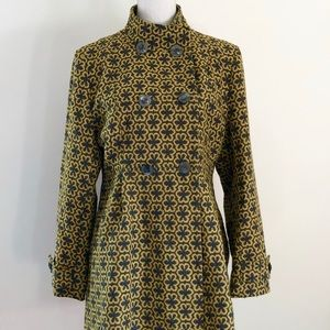 Pura Vida Wool Blend Gray and Gold Swing Coat